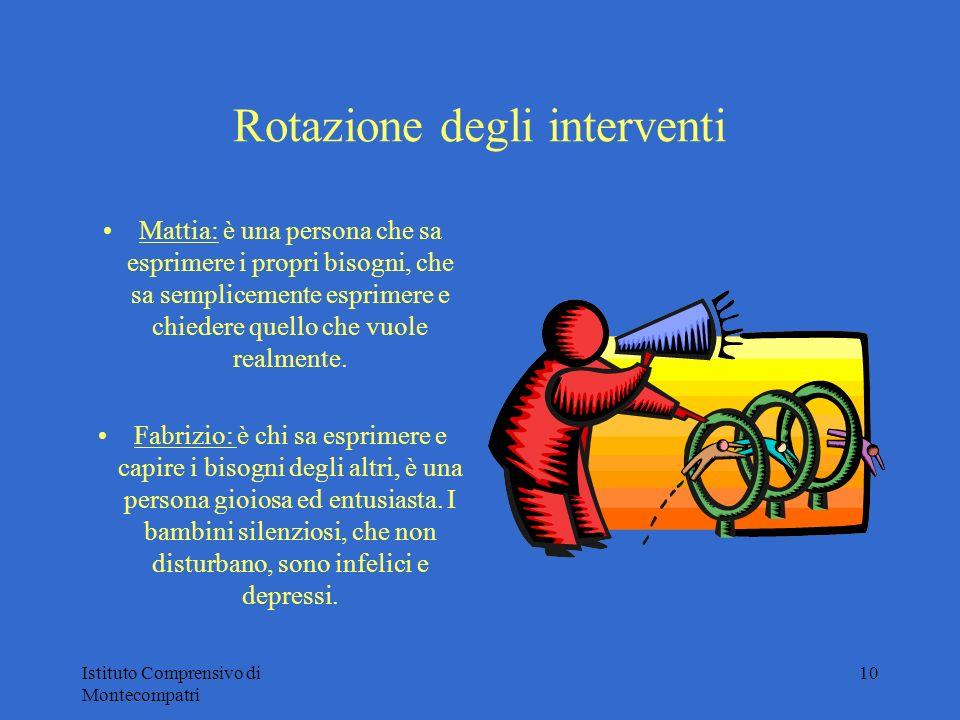 Istituto Comprensivo di Montecompatri 10 Rotazione degli interventi Mattia: è una persona che sa esprimere i propri bisogni, che sa semplicemente espr