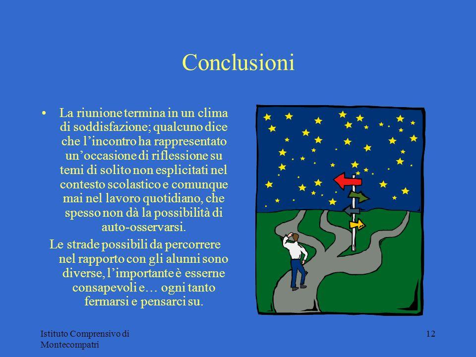 Istituto Comprensivo di Montecompatri 12 Conclusioni La riunione termina in un clima di soddisfazione; qualcuno dice che lincontro ha rappresentato un