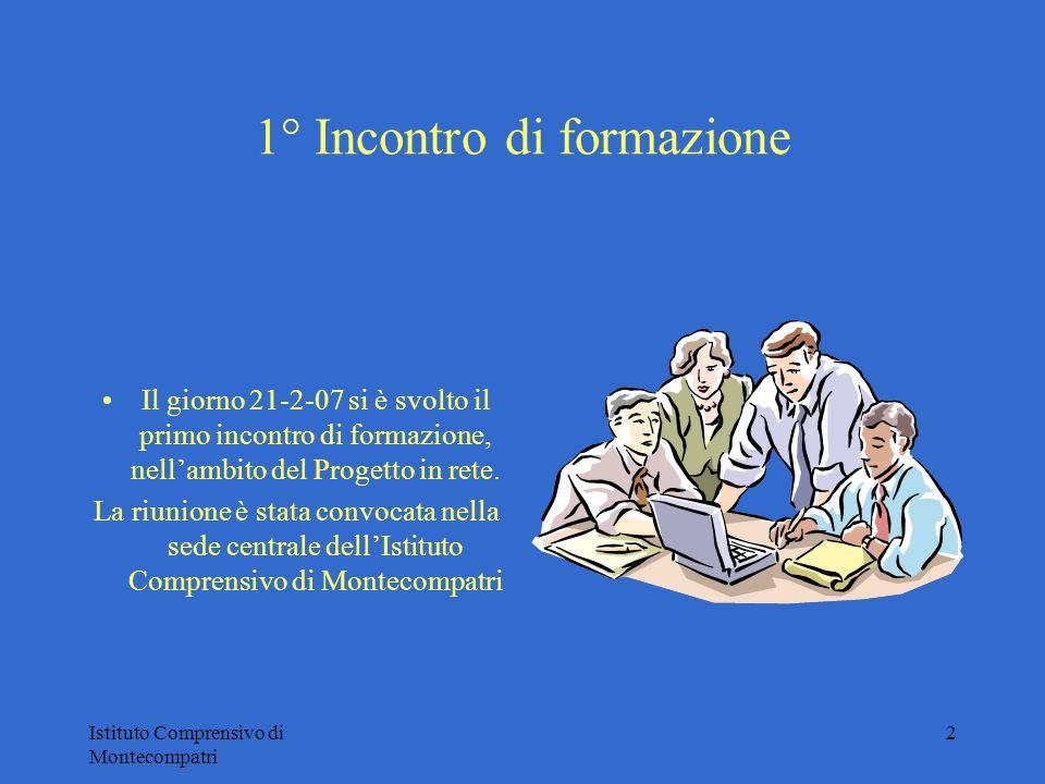 Istituto Comprensivo di Montecompatri 2 1° Incontro di formazione Il giorno 21-2-07 si è svolto il primo incontro di formazione, nellambito del Proget
