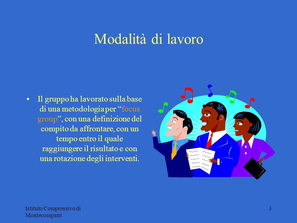 Istituto Comprensivo di Montecompatri 3 Modalità di lavoro Il gruppo ha lavorato sulla base di una metodologia per focus group, con una definizione de