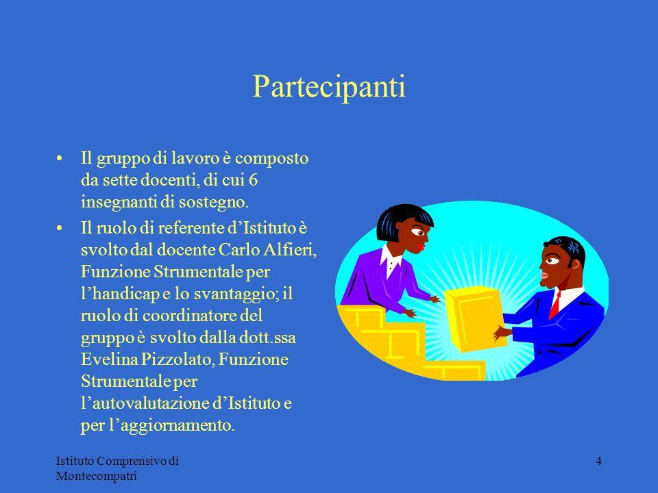 Istituto Comprensivo di Montecompatri 4 Partecipanti Il gruppo di lavoro è composto da sette docenti, di cui 6 insegnanti di sostegno. Il ruolo di ref