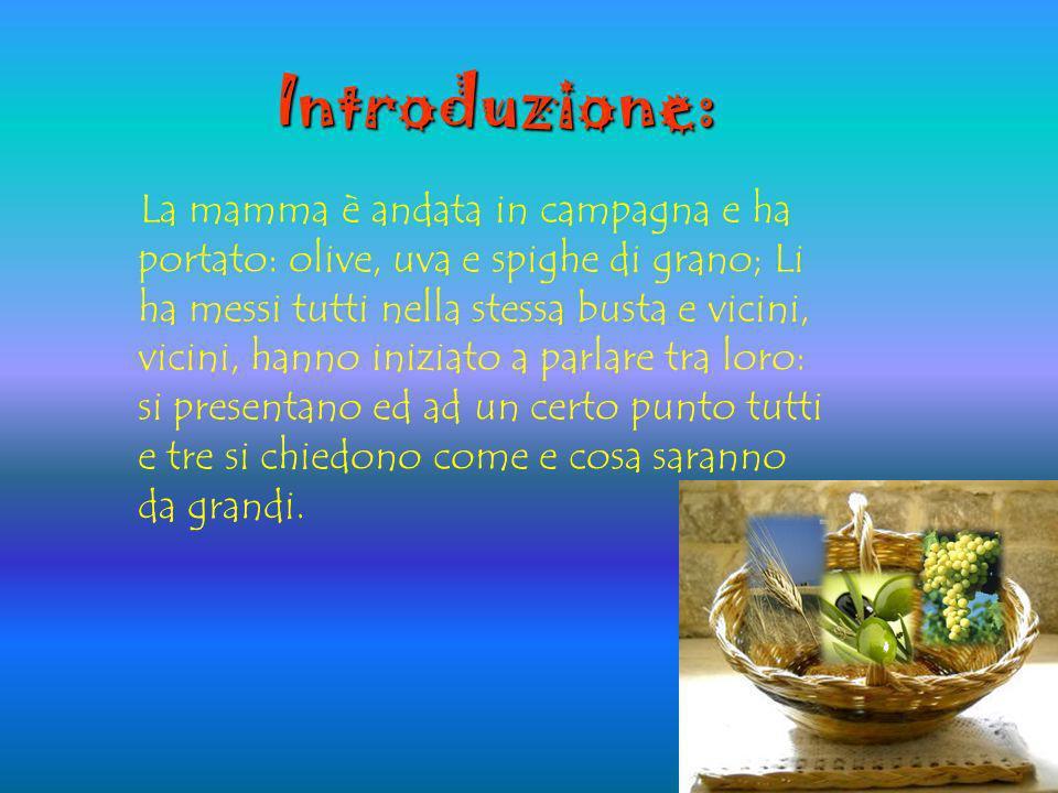 Introduzione: La mamma è andata in campagna e ha portato: olive, uva e spighe di grano; Li ha messi tutti nella stessa busta e vicini, vicini, hanno i