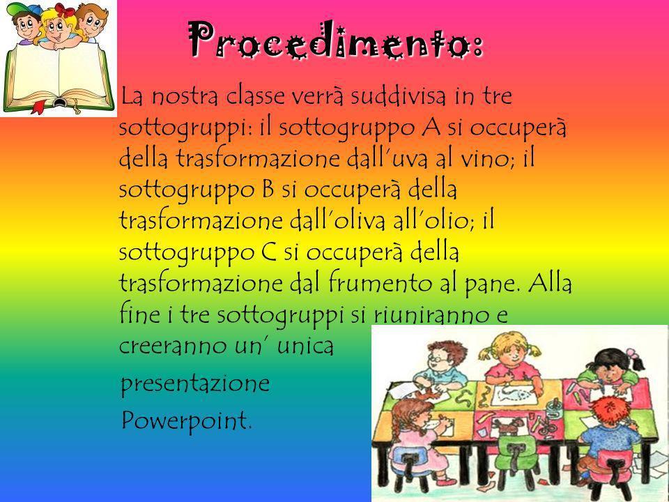 Procedimento: La nostra classe verrà suddivisa in tre sottogruppi: il sottogruppo A si occuperà della trasformazione dalluva al vino; il sottogruppo B