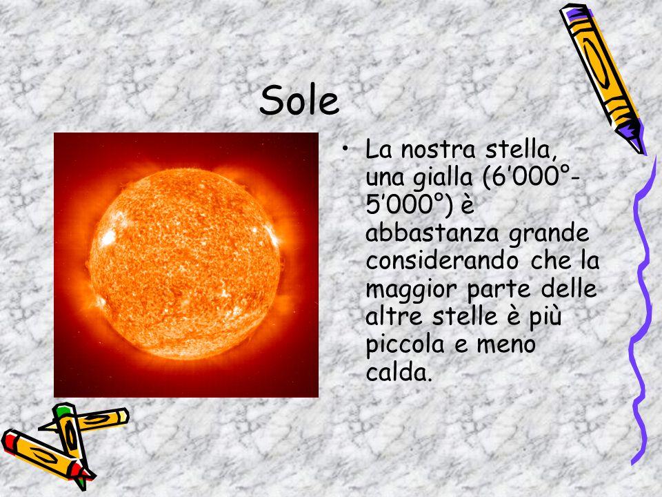 Sole La nostra stella, una gialla (6000°- 5000°) è abbastanza grande considerando che la maggior parte delle altre stelle è più piccola e meno calda.