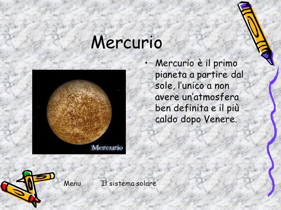 Mercurio Mercurio è il primo pianeta a partire dal sole, lunico a non avere unatmosfera ben definita e il più caldo dopo Venere. MenuIl sistema solare