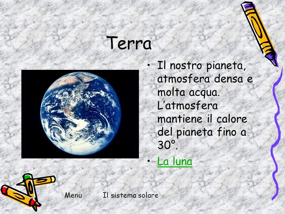 Terra Il nostro pianeta, atmosfera densa e molta acqua. Latmosfera mantiene il calore del pianeta fino a 30°. La luna Il sistema solareMenu