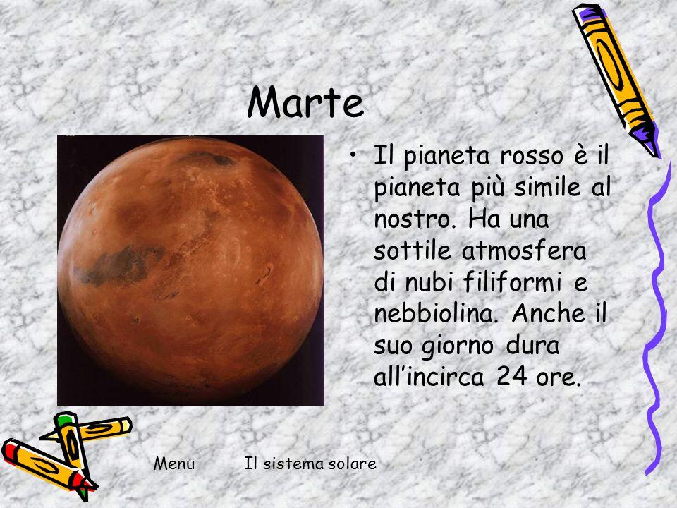 Marte Il pianeta rosso è il pianeta più simile al nostro. Ha una sottile atmosfera di nubi filiformi e nebbiolina. Anche il suo giorno dura allincirca