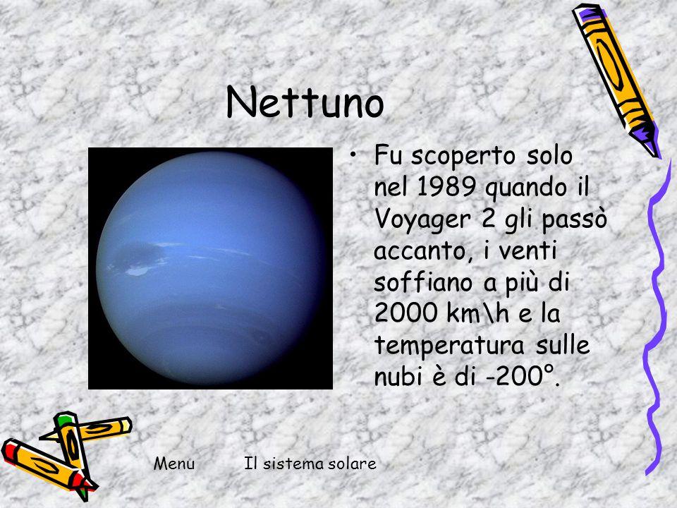 Nettuno Fu scoperto solo nel 1989 quando il Voyager 2 gli passò accanto, i venti soffiano a più di 2000 km\h e la temperatura sulle nubi è di -200°. I