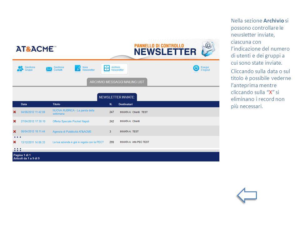 Nella sezione Archivio si possono controllare le newsletter inviate, ciascuna con lindicazione del numero di utenti e dei gruppi a cui sono state inviate.