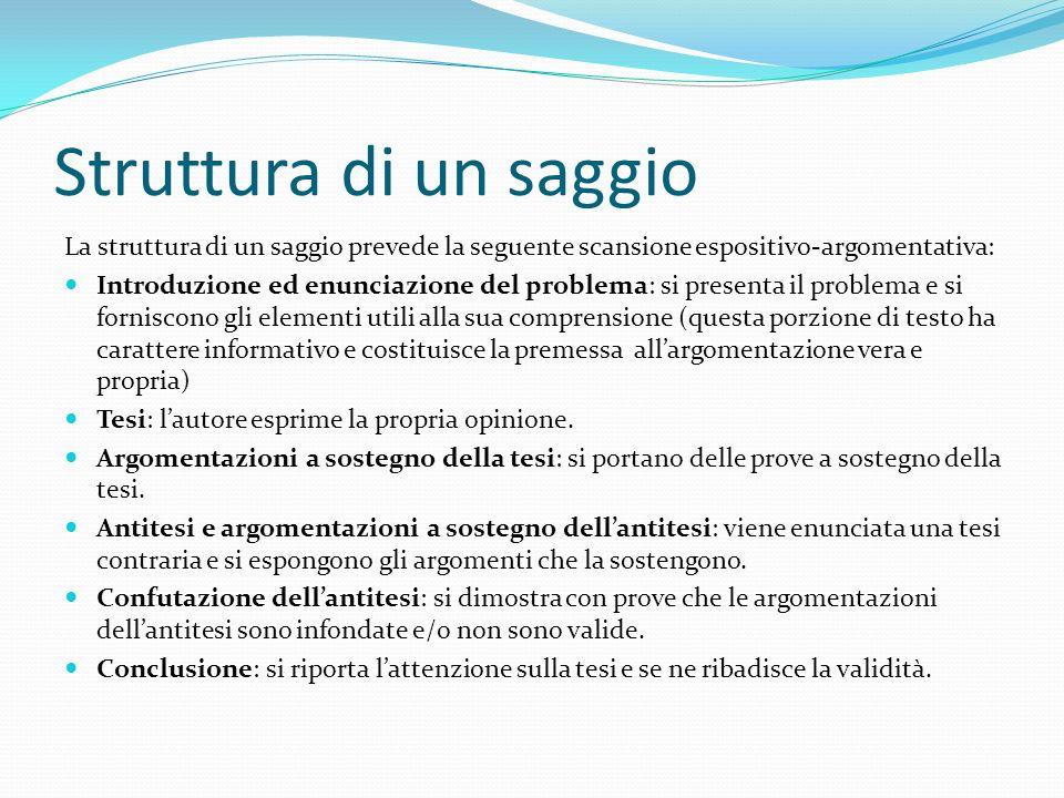 Struttura di un saggio La struttura di un saggio prevede la seguente scansione espositivo-argomentativa: Introduzione ed enunciazione del problema: si