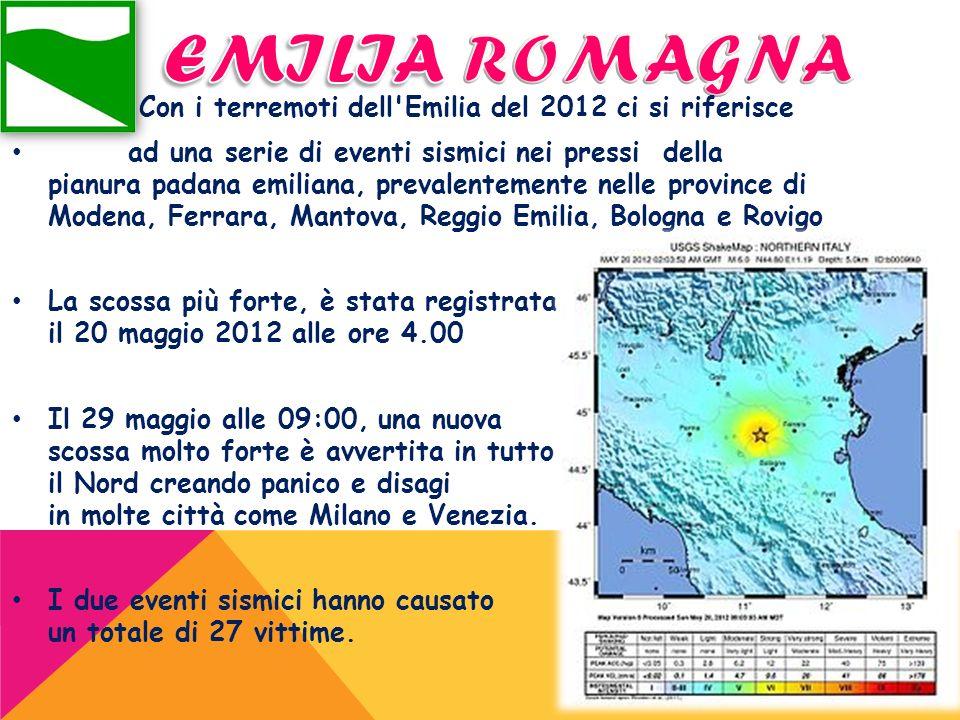 Con i terremoti dell'Emilia del 2012 ci si riferisce ad una serie di eventi sismici nei pressi della pianura padana emiliana, prevalentemente nelle pr