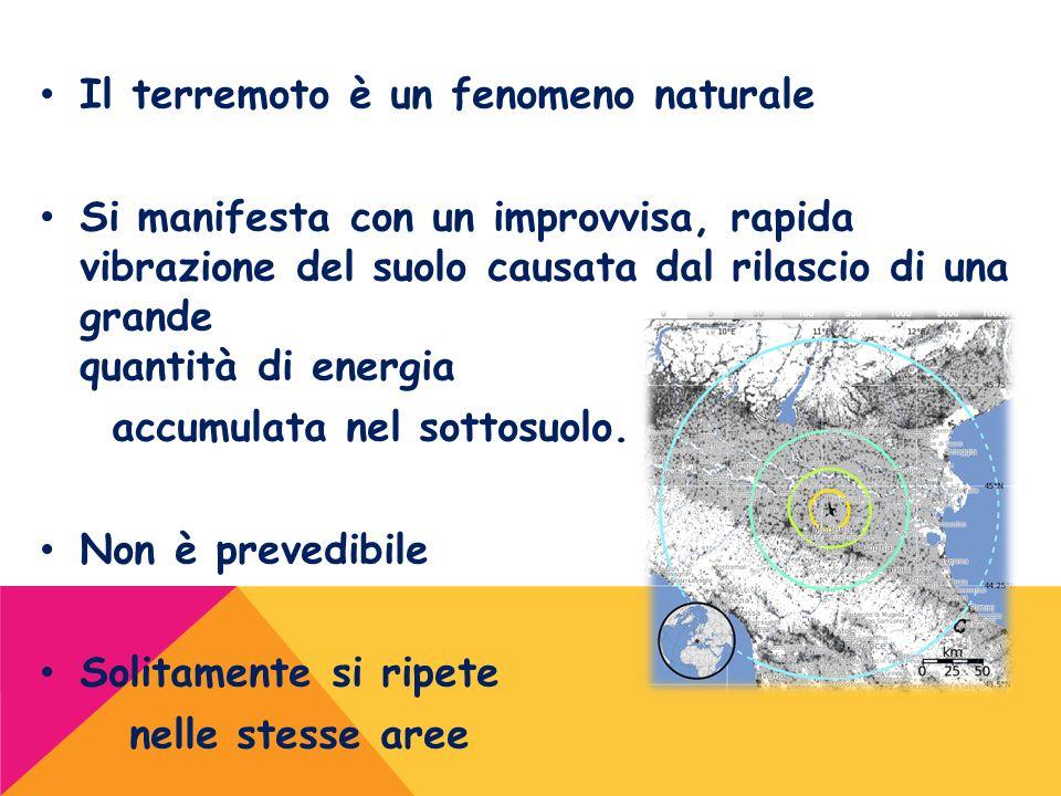 Il terremoto è un fenomeno naturale Si manifesta con un improvvisa, rapida vibrazione del suolo causata dal rilascio di una grande quantità di energia