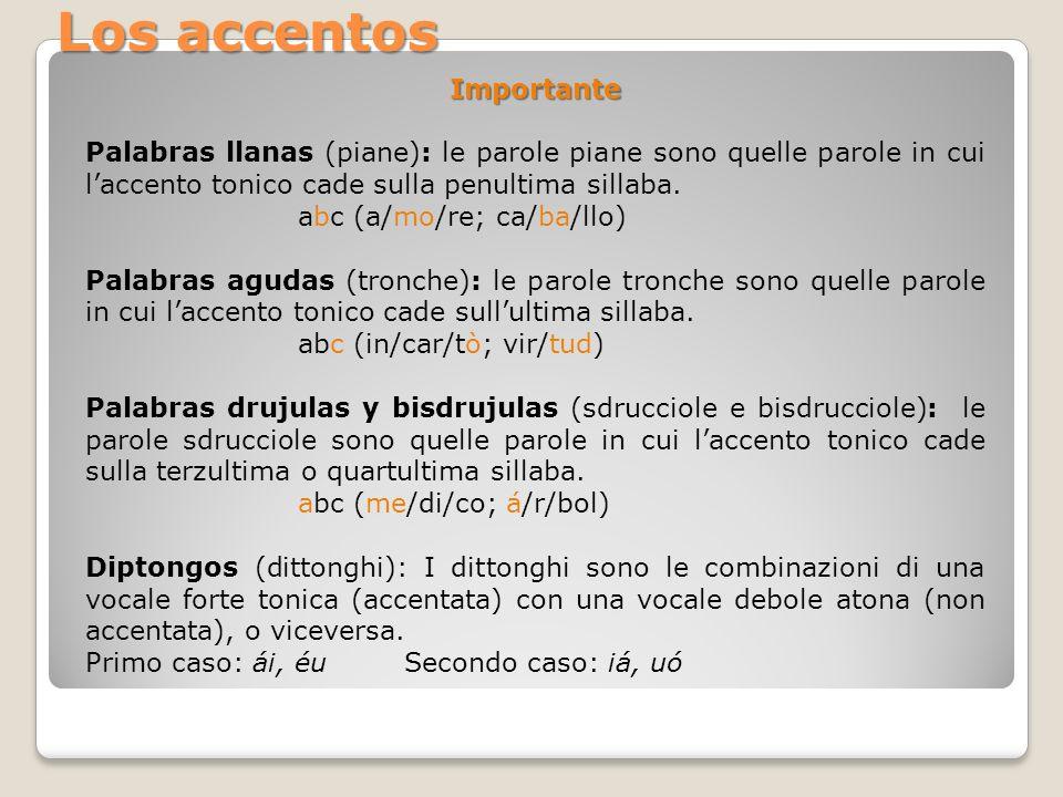 Importante Palabras llanas (piane): le parole piane sono quelle parole in cui laccento tonico cade sulla penultima sillaba. abc (a/mo/re; ca/ba/llo) P