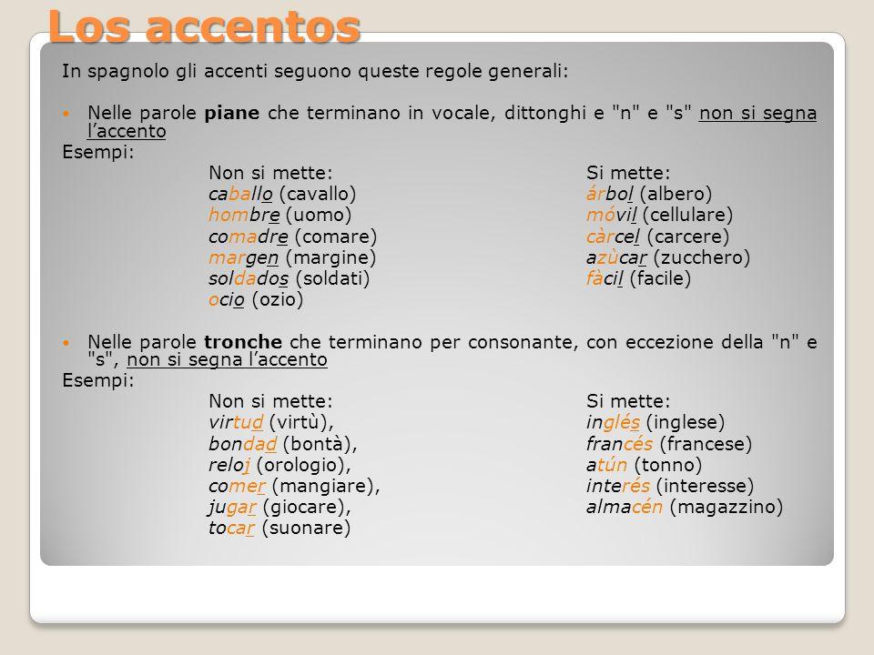In spagnolo gli accenti seguono queste regole generali: Nelle parole piane che terminano in vocale, dittonghi e