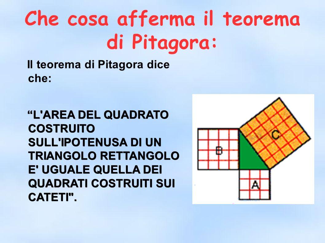 Che cosa afferma il teorema di Pitagora: Il teorema di Pitagora dice che: L'AREA DEL QUADRATO COSTRUITO SULL'IPOTENUSA DI UN TRIANGOLO RETTANGOLO E' U