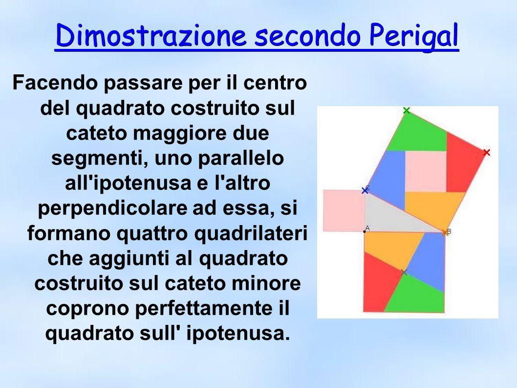 Dimostrazione secondo Perigal Dimostrazione secondo Perigal Facendo passare per il centro del quadrato costruito sul cateto maggiore due segmenti, uno