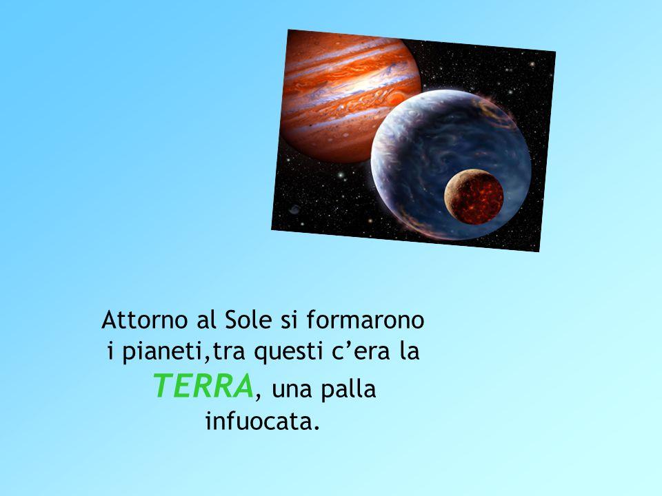 Attorno al Sole si formarono i pianeti,tra questi cera la TERRA, una palla infuocata.