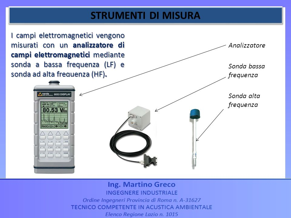 Analizzatore Sonda bassa frequenza Sonda alta frequenza I campi elettromagnetici vengono misurati con un analizzatore di campi elettromagnetici median
