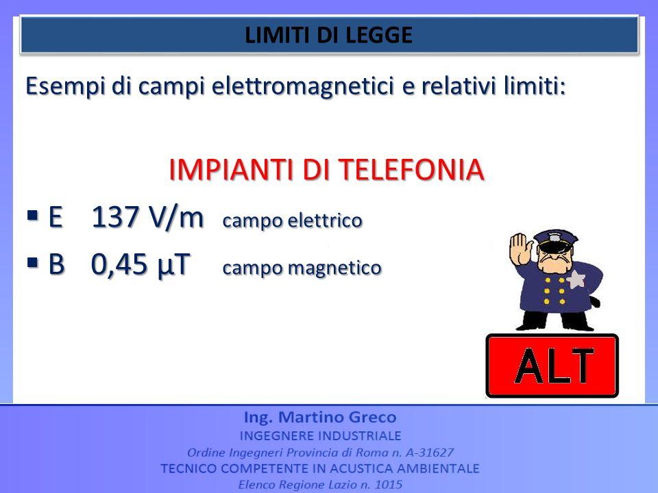 Esempi di campi elettromagnetici e relativi limiti: IMPIANTI DI TELEFONIA E137 V/m campo elettrico E137 V/m campo elettrico B0,45 µT campo magnetico B