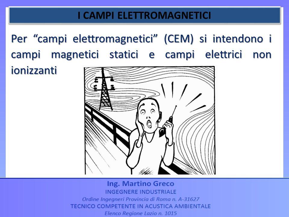 Per campi elettromagnetici (CEM) si intendono i campi magnetici statici e campi elettrici non ionizzanti