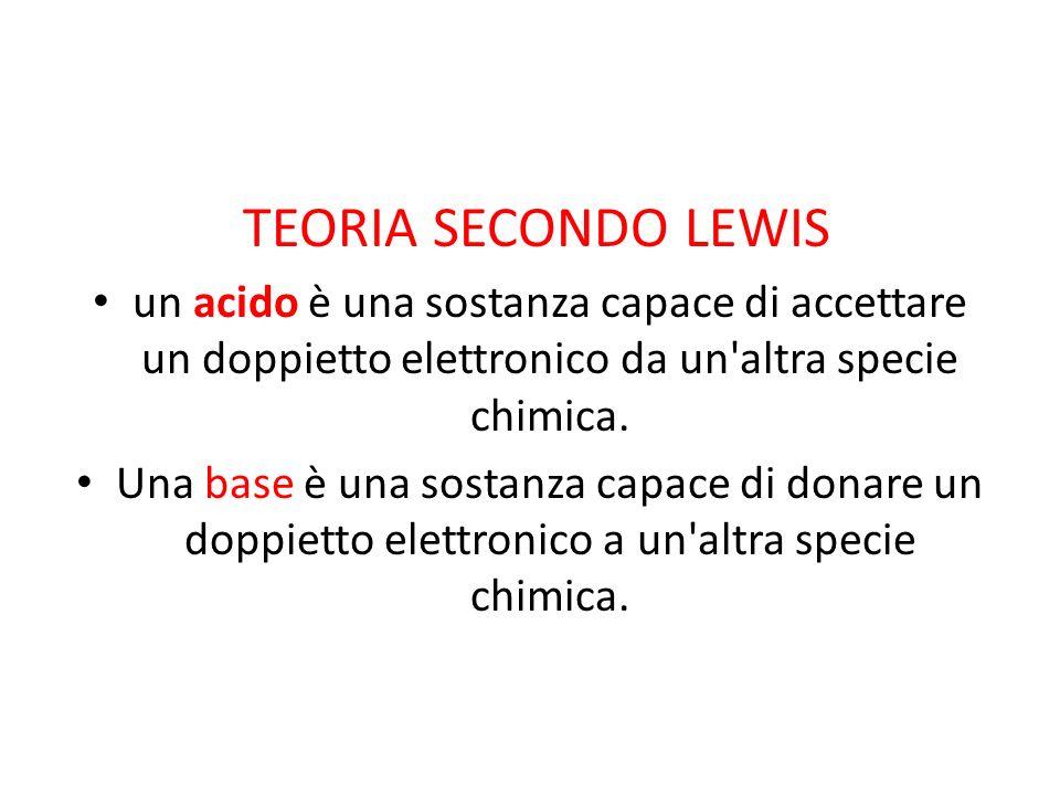 TEORIA SECONDO LEWIS un acido è una sostanza capace di accettare un doppietto elettronico da un'altra specie chimica. Una base è una sostanza capace d