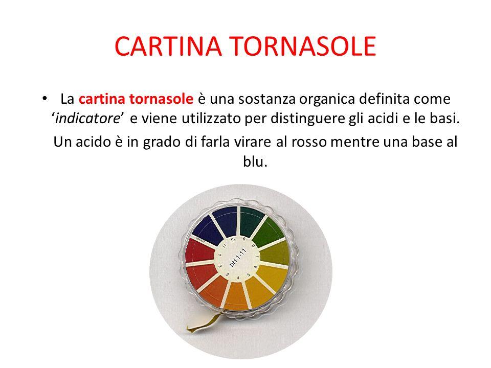 CARTINA TORNASOLE La cartina tornasole è una sostanza organica definita comeindicatore e viene utilizzato per distinguere gli acidi e le basi. Un acid