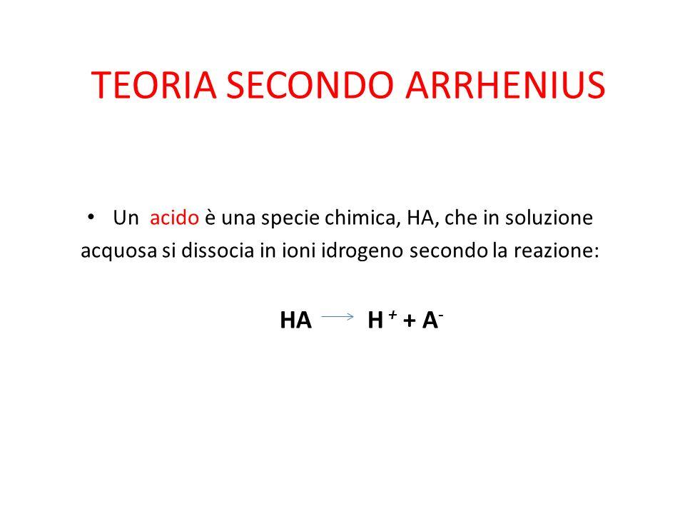 TEORIA SECONDO ARRHENIUS Un acido è una specie chimica, HA, che in soluzione acquosa si dissocia in ioni idrogeno secondo la reazione: HA H + + A -