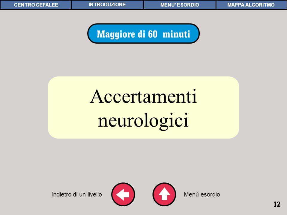12 ACCERTAMENTI NEUROLOGICI Maggiore di 60 minuti Accertamenti neurologici Indietro di un livelloMenù esordio MAPPA ALGORITMOCENTRO CEFALEEMENU ESORDI