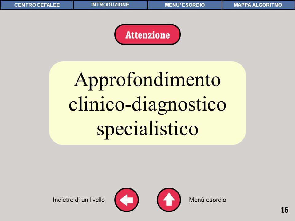 16 APPROFONDIMENTO 3 Approfondimento clinico-diagnostico specialistico Indietro di un livello Attenzione Menù esordio MAPPA ALGORITMOCENTRO CEFALEEMENU ESORDIOINTRODUZIONE