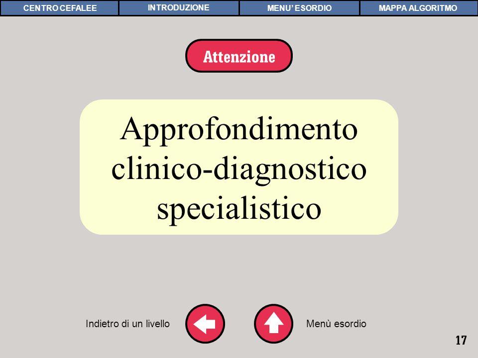 17 APPROFONDIMENTO 4 Approfondimento clinico-diagnostico specialistico Indietro di un livello Attenzione Menù esordio MAPPA ALGORITMOCENTRO CEFALEEMENU ESORDIOINTRODUZIONE