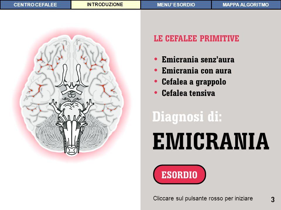 3 INTRODUZIONE Emicrania senzaura Emicrania con aura Cefalea a grappolo Cefalea tensiva LE CEFALEE PRIMITIVE Diagnosi di: EMICRANIA ESORDIO Cliccare s