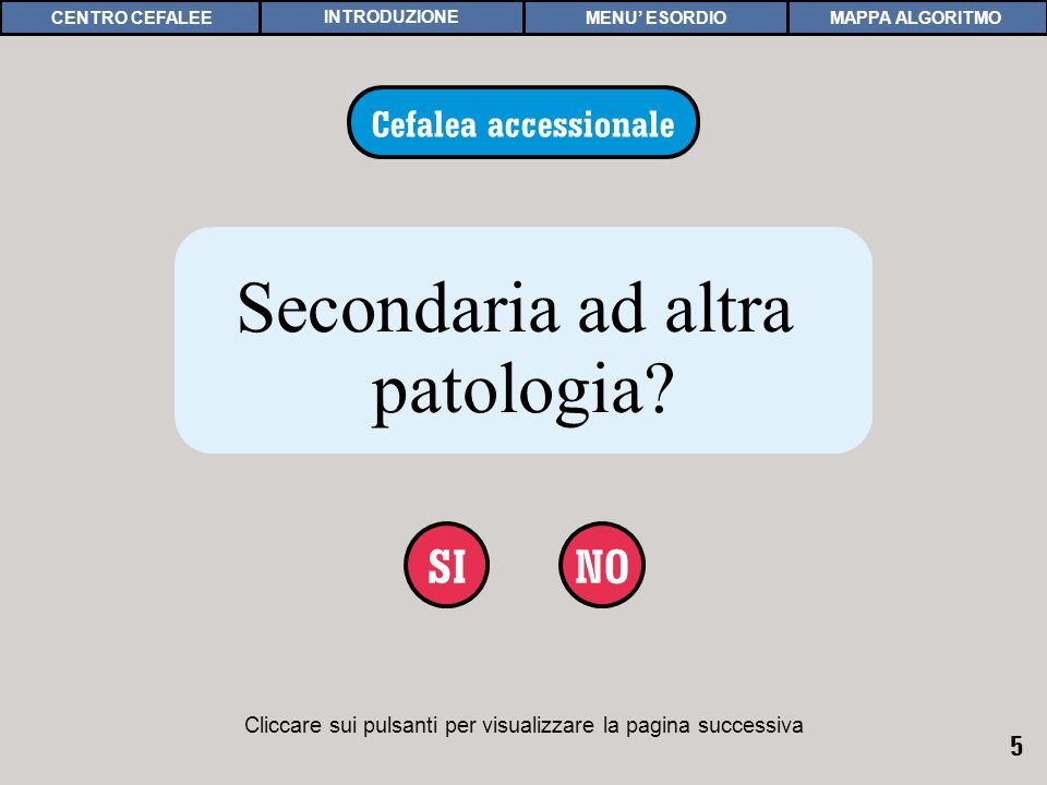 5 Cliccare sui pulsanti per visualizzare la pagina successiva NOSI CEFALEA ACCESSIONALE 1 Cefalea accessionale Secondaria ad altra patologia? MAPPA AL