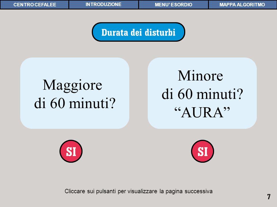 7 Cliccare sui pulsanti per visualizzare la pagina successiva DURATA Durata dei disturbi Maggiore di 60 minuti? SI Minore di 60 minuti? AURA SI MAPPA