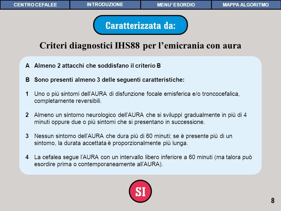 8 IHS88 CON AURA Caratterizzata da: SI AAlmeno 2 attacchi che soddisfano il criterio B BSono presenti almeno 3 delle seguenti caratteristiche: 1Uno o più sintomi dellAURA di disfunzione focale emisferica e/o troncocefalica, completamente reversibili.