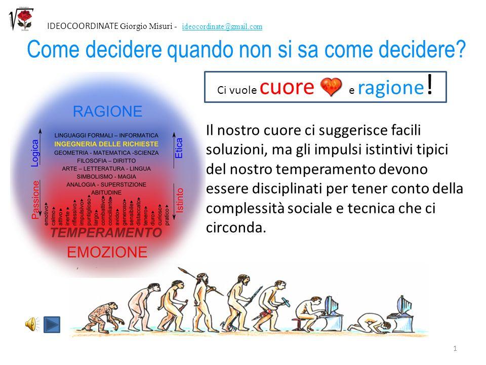 11 IDEOCOORDINATE Giorgio Misuri - ideocordinate@gmail.com Razionalità è usare scienza e calcolo per trovare la soluzione tecnica efficace Per essere razionale Topolino avrebbe dovuto calcolare (e costruire) la pompa.