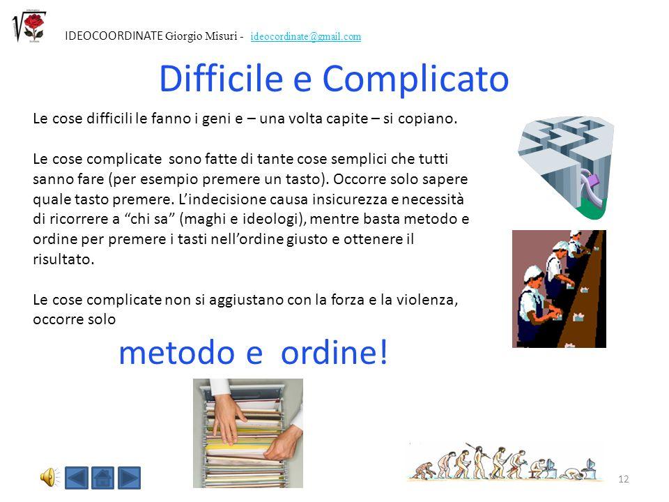 11 IDEOCOORDINATE Giorgio Misuri - ideocordinate@gmail.com Razionalità è usare scienza e calcolo per trovare la soluzione tecnica efficace Per essere