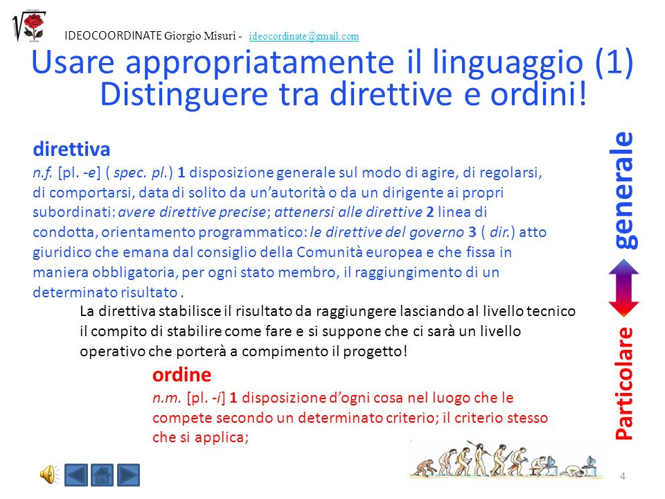 4 IDEOCOORDINATE Giorgio Misuri - ideocordinate@gmail.com Distinguere tra direttive e ordini.