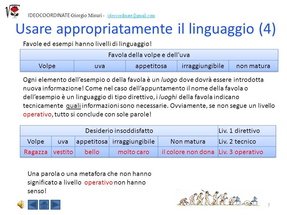 7 IDEOCOORDINATE Giorgio Misuri - ideocordinate@gmail.com Usare appropriatamente il linguaggio (4) Favole ed esempi hanno livelli di linguaggio.