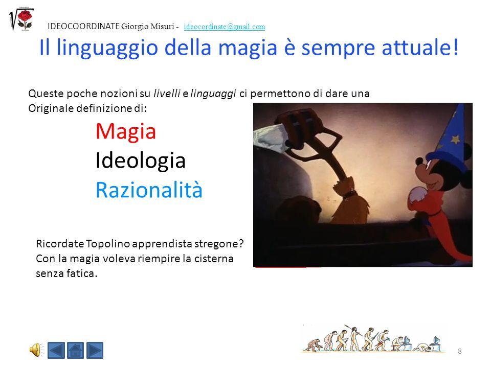 8 IDEOCOORDINATE Giorgio Misuri - ideocordinate@gmail.com Queste poche nozioni su livelli e linguaggi ci permettono di dare una Originale definizione di: Magia Ideologia Razionalità Ricordate Topolino apprendista stregone.