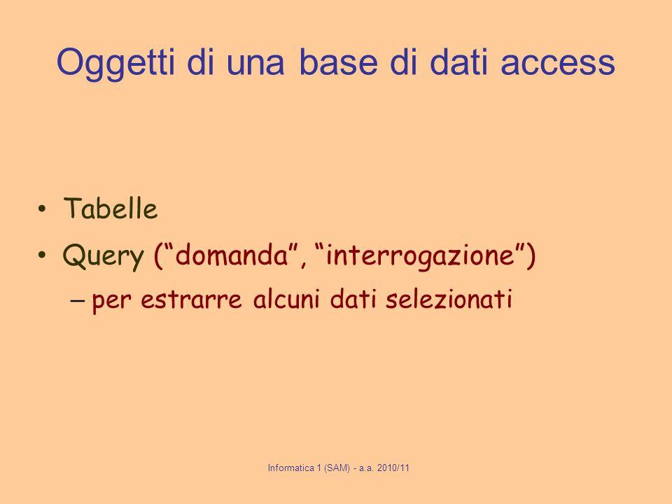 Informatica 1 (SAM) - a.a. 2010/11 Oggetti di una base di dati access Tabelle Query (domanda, interrogazione) – per estrarre alcuni dati selezionati