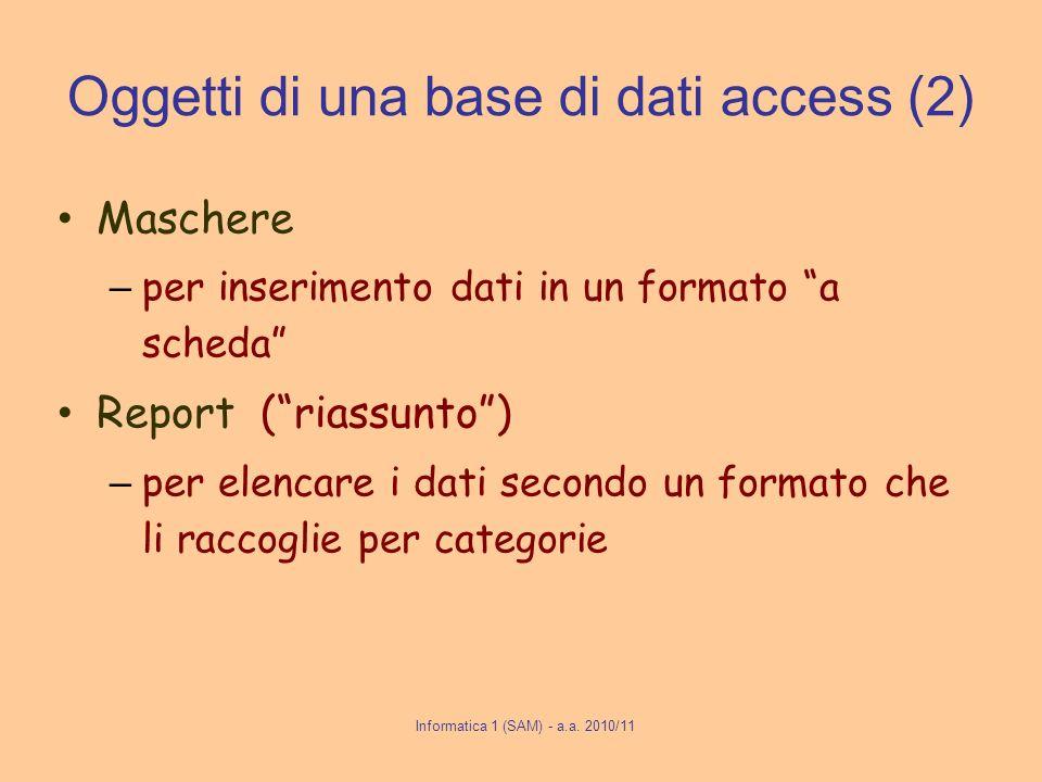 Informatica 1 (SAM) - a.a. 2010/11 Oggetti di una base di dati access (2) Maschere – per inserimento dati in un formato a scheda Report (riassunto) –