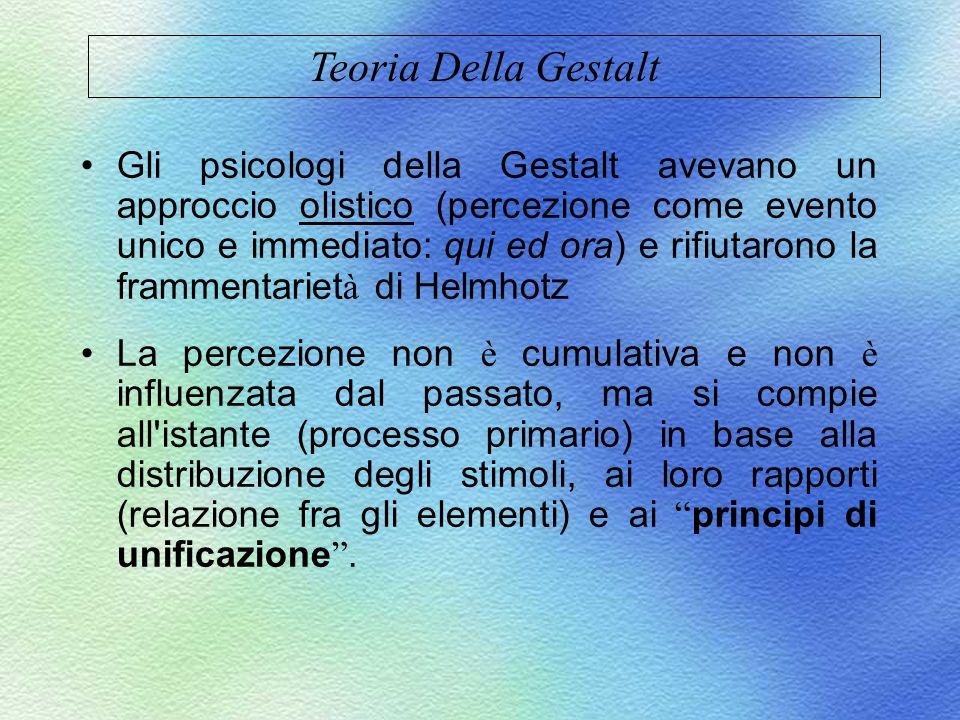 Gli psicologi della Gestalt avevano un approccio olistico (percezione come evento unico e immediato: qui ed ora) e rifiutarono la frammentariet à di H