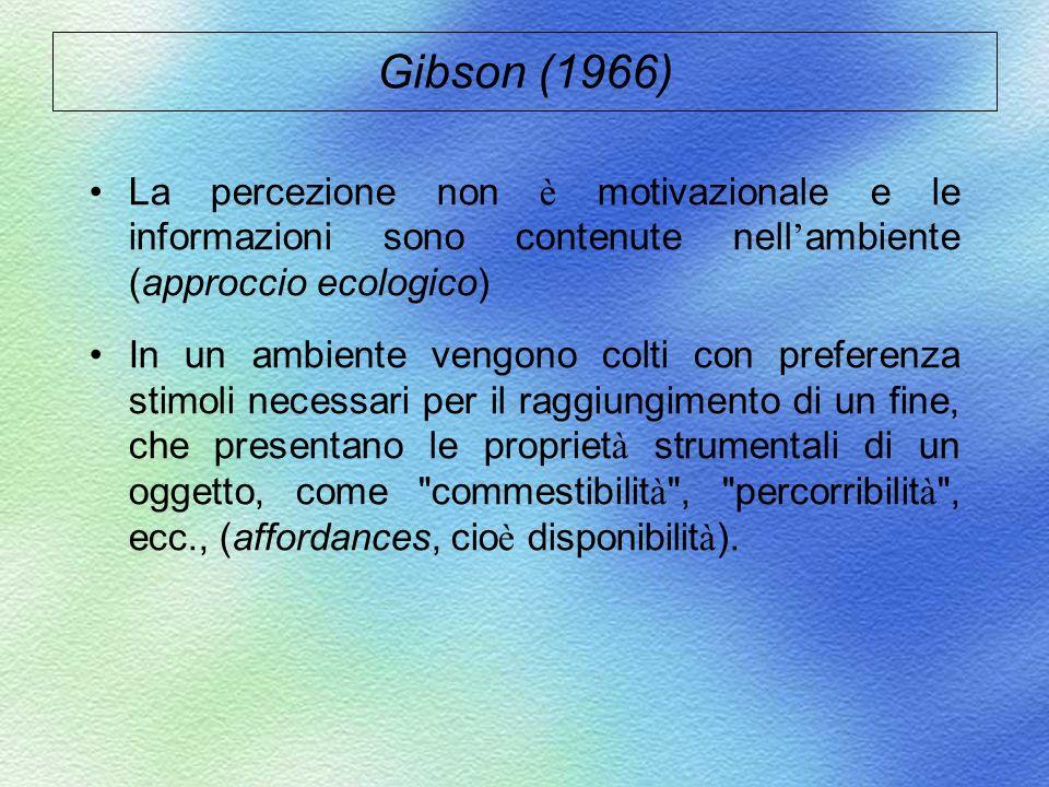 Gibson (1966) La percezione non è motivazionale e le informazioni sono contenute nell ambiente (approccio ecologico) In un ambiente vengono colti con