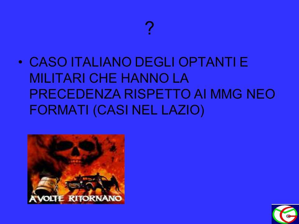 ? CASO ITALIANO DEGLI OPTANTI E MILITARI CHE HANNO LA PRECEDENZA RISPETTO AI MMG NEO FORMATI (CASI NEL LAZIO)