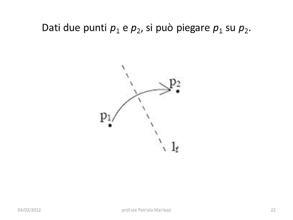 Dati due punti p 1 e p 2, si può piegare p 1 su p 2. 04/03/201222prof.ssa Patrizia Marlazzi
