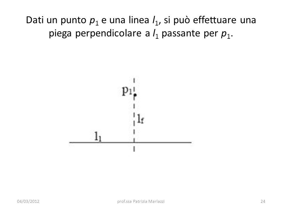 Dati un punto p 1 e una linea l 1, si può effettuare una piega perpendicolare a l 1 passante per p 1.