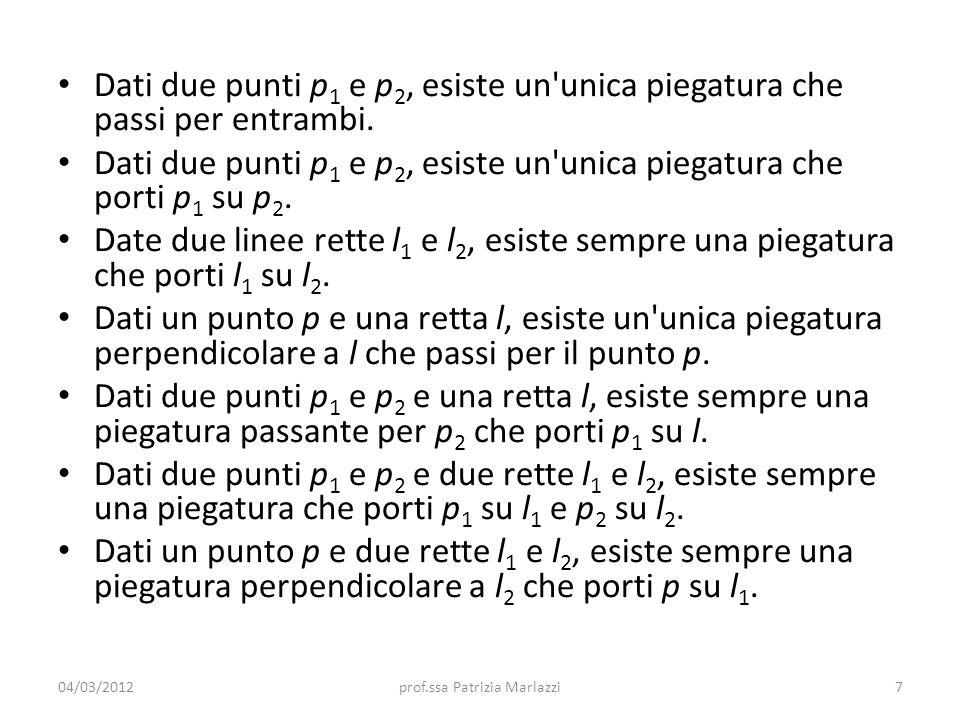 Dati due punti p 1 e p 2, esiste un unica piegatura che passi per entrambi.