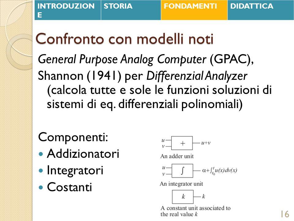 Confronto con modelli noti General Purpose Analog Computer (GPAC), Shannon (1941) per Differenzial Analyzer (calcola tutte e sole le funzioni soluzion