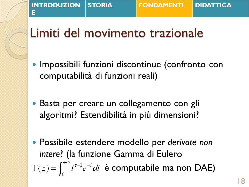 Limiti del movimento trazionale Impossibili funzioni discontinue (confronto con computabilità di funzioni reali) Basta per creare un collegamento con