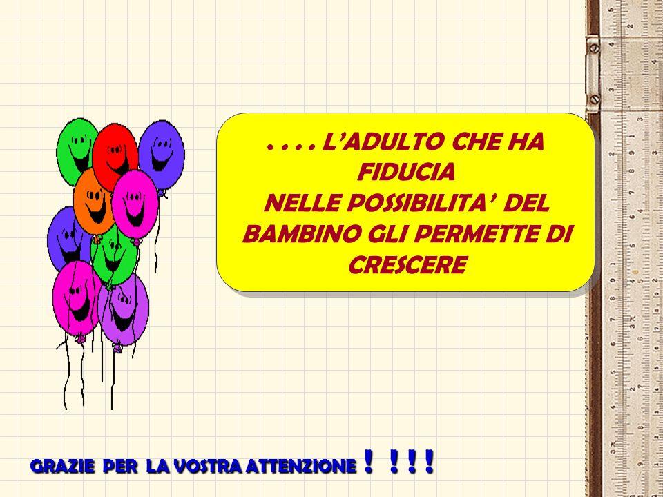 ....LADULTO CHE HA FIDUCIA NELLE POSSIBILITA DEL BAMBINO GLI PERMETTE DI CRESCERE....